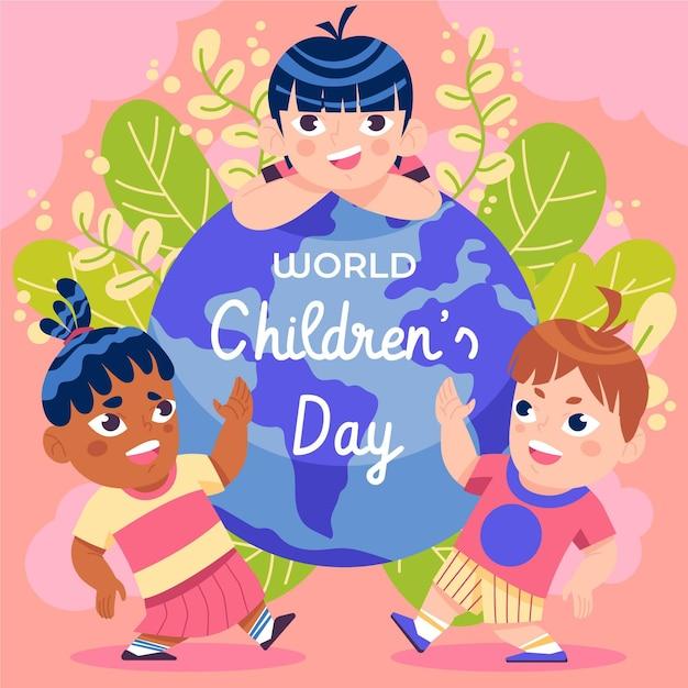 Diseño plano día mundial del niño Vector Premium