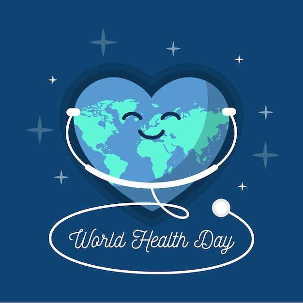 Diseño plano día mundial de la salud escuchando el estetoscopio vector gratuito