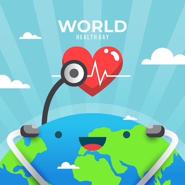 Diseño plano día mundial de la salud y smiley earth vector gratuito