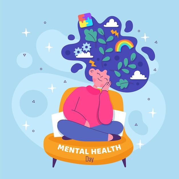 Diseño plano del día de la salud mental. Vector Premium