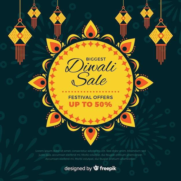 Diseño plano diwali banner de venta de vacaciones vector gratuito