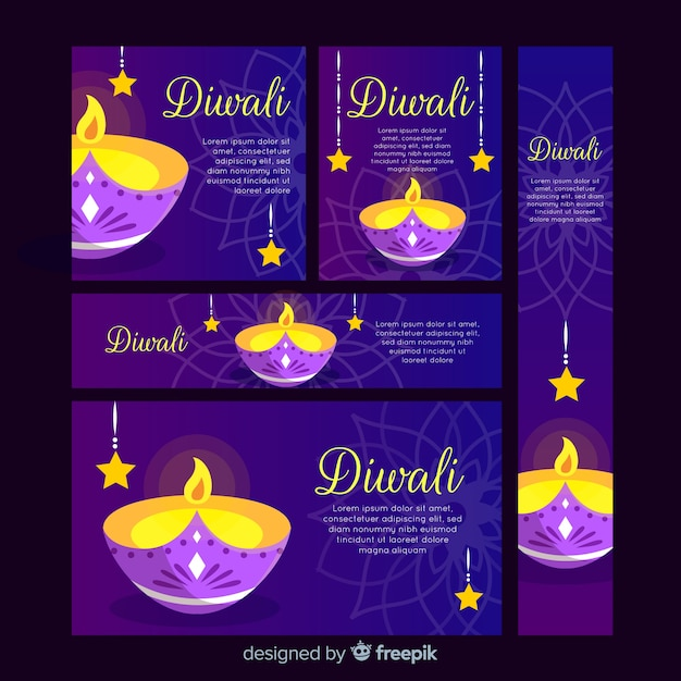 Diseño plano diwali web banners vector gratuito