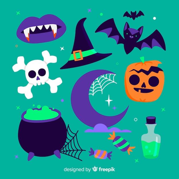 Diseño plano de elementos de halloween vector gratuito