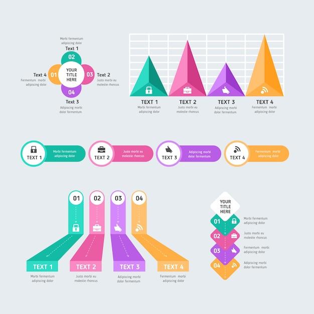 Diseño plano de elementos de infografía empresarial vector gratuito