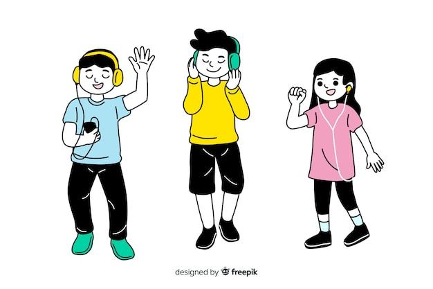Diseño plano estilo de dibujo coreano personajes jóvenes escuchando música vector gratuito