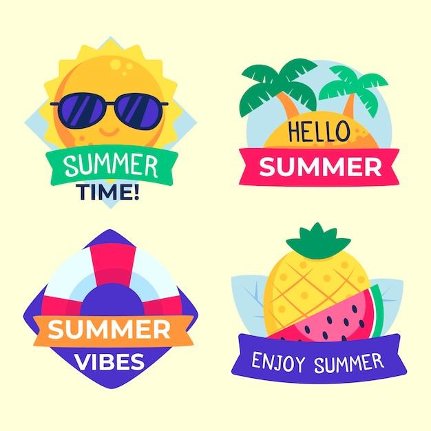 Diseño plano de etiquetas de verano vector gratuito