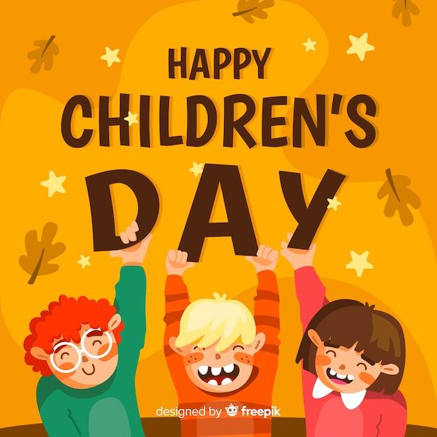 Diseño plano para evento del día del niño. vector gratuito