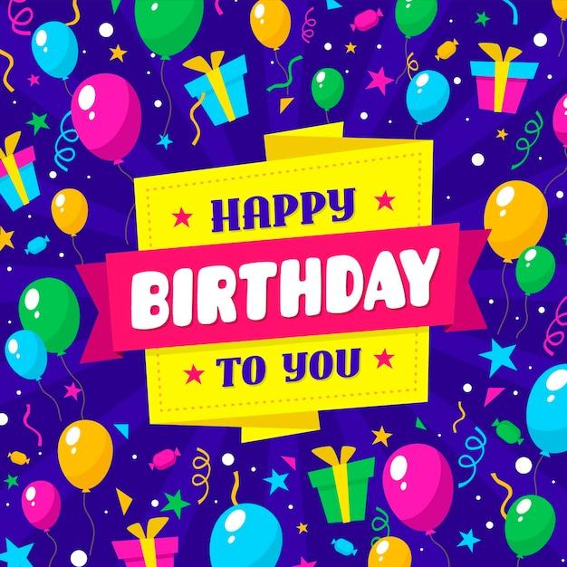 Diseño plano feliz cumpleaños fondo vector gratuito
