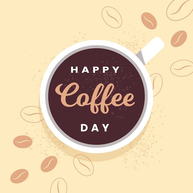 Diseño plano feliz día internacional del café. vector gratuito