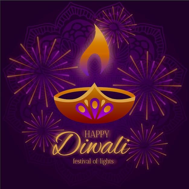 Diseño plano feliz diwali vela y fuegos artificiales. vector gratuito