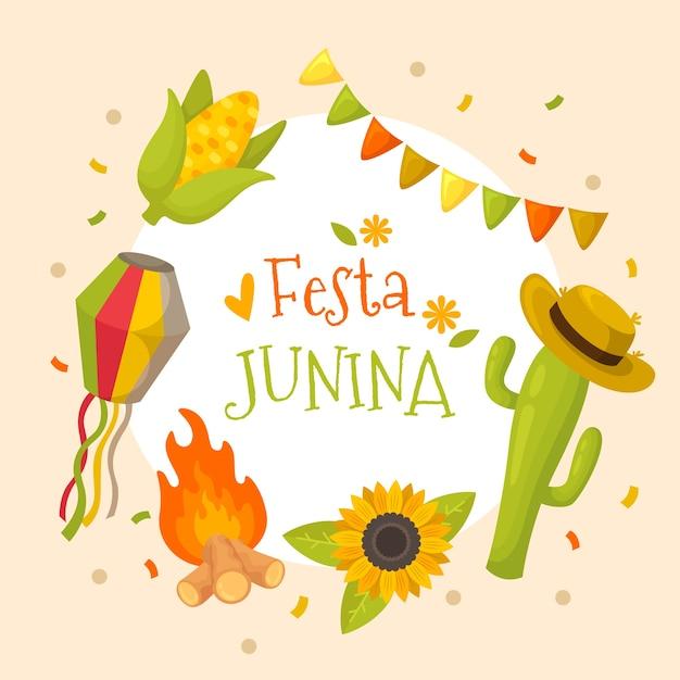 Diseño plano festa junina cactus con sombrero vector gratuito