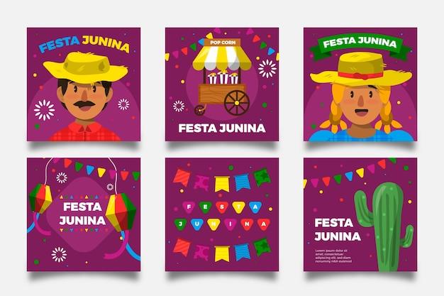 Diseño plano festa junina tarjeta personajes y cactus vector gratuito