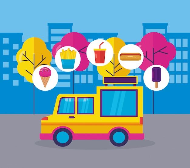 Diseño plano del festival de food trucks vector gratuito