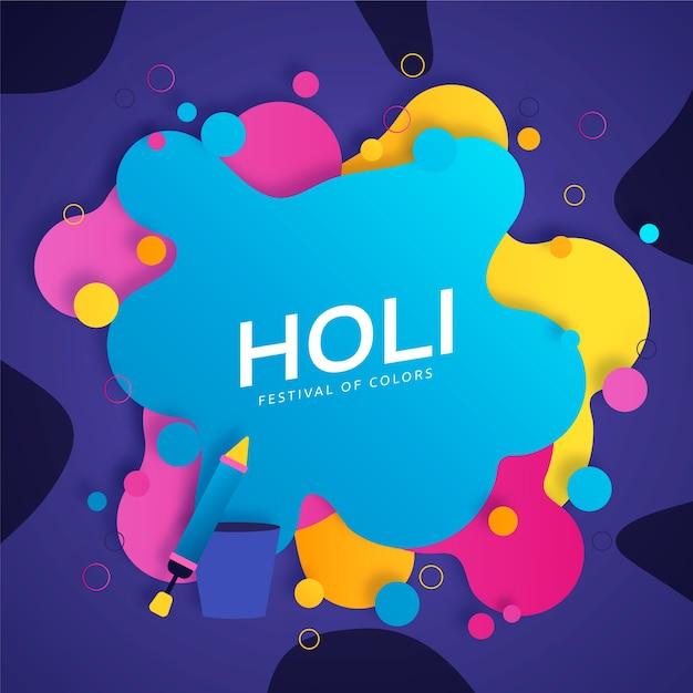 Diseño plano del festival holi con manchas de colores vivos. vector gratuito