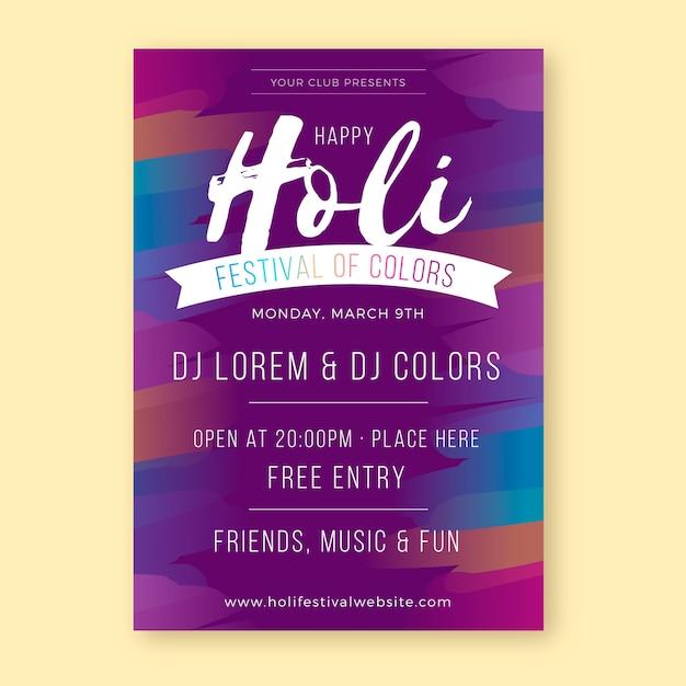 Diseño plano de la fiesta de carteles del festival holi en colores degradados vector gratuito