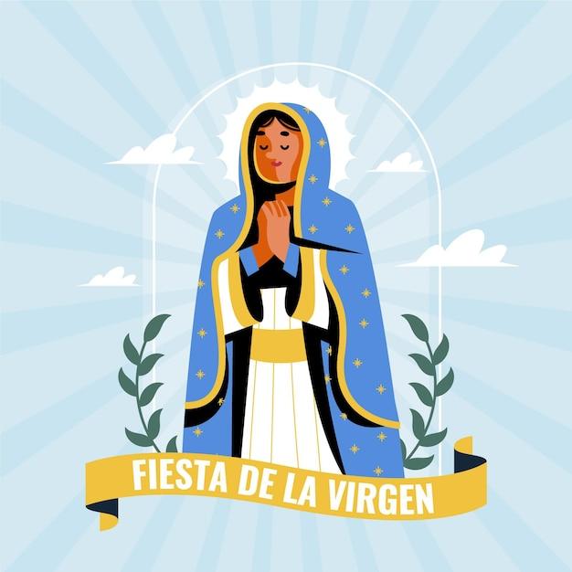 Diseño plano fiesta de la virgen vector gratuito