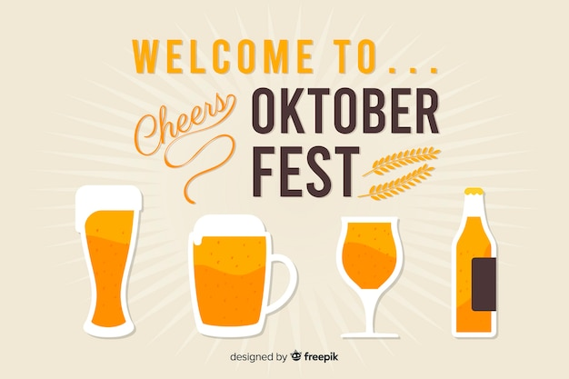 Diseño plano de fondo decorativo oktoberfest vector gratuito