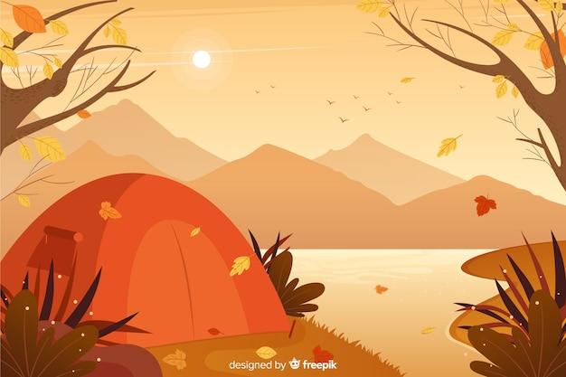 Diseño plano de fondo decorativo otoño vector gratuito