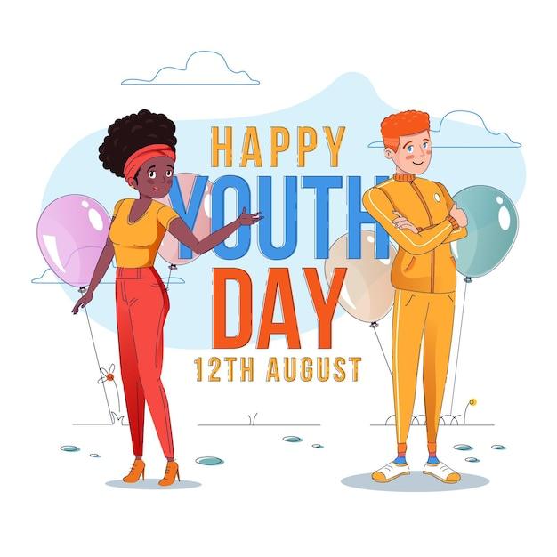 Diseño plano fondo día de la juventud vector gratuito