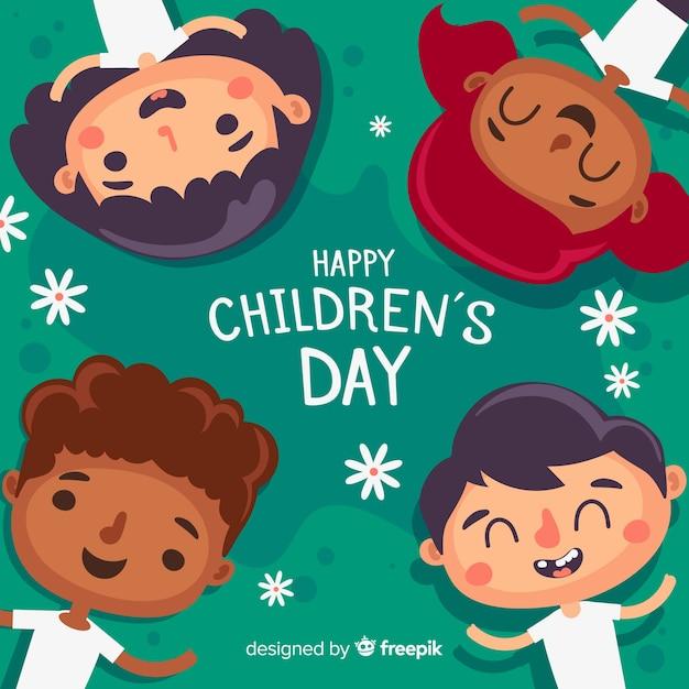 Diseño plano fondo del día del niño vector gratuito