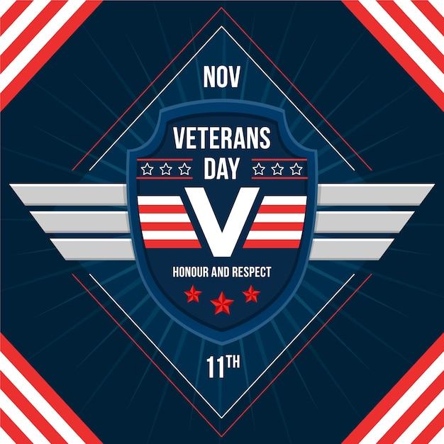 Diseño plano fondo del día de los veteranos vector gratuito
