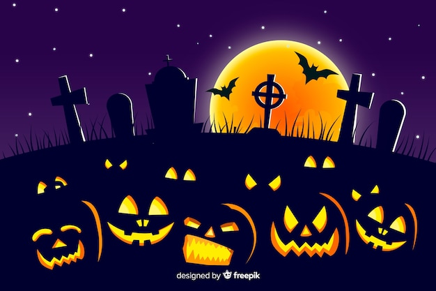 Diseño plano fondo de halloween vector gratuito