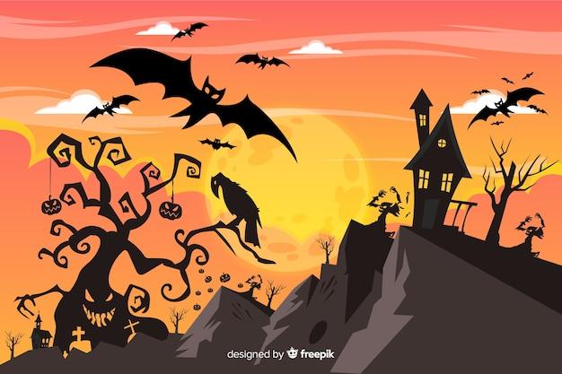Diseño plano de fondo de halloween vector gratuito