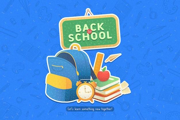 Diseño plano fondo de regreso a la escuela con mochila vector gratuito