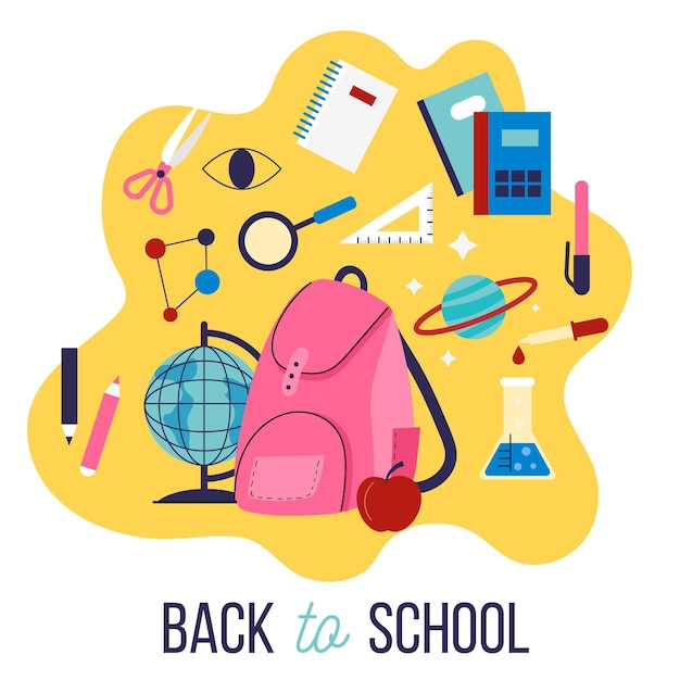 Diseño plano fondo de regreso a la escuela para niños vector gratuito