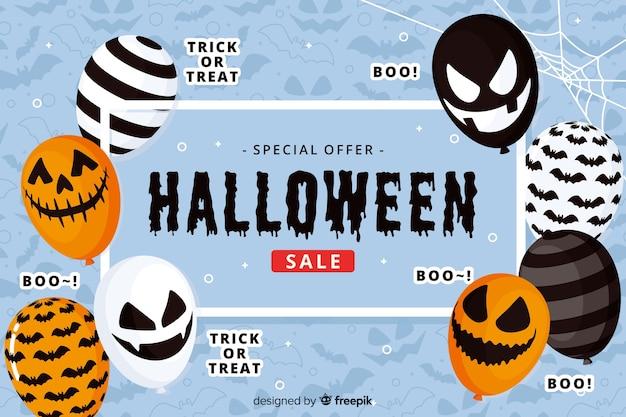 Diseño plano de fondo de venta de halloween con globos vector gratuito