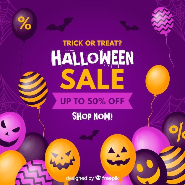 Diseño plano fondo de venta de halloween con globos vector gratuito