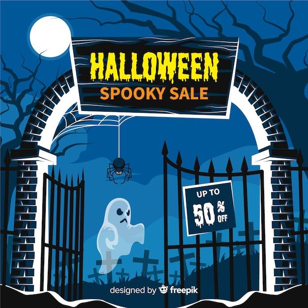 Diseño plano de fondo de venta de halloween vector gratuito