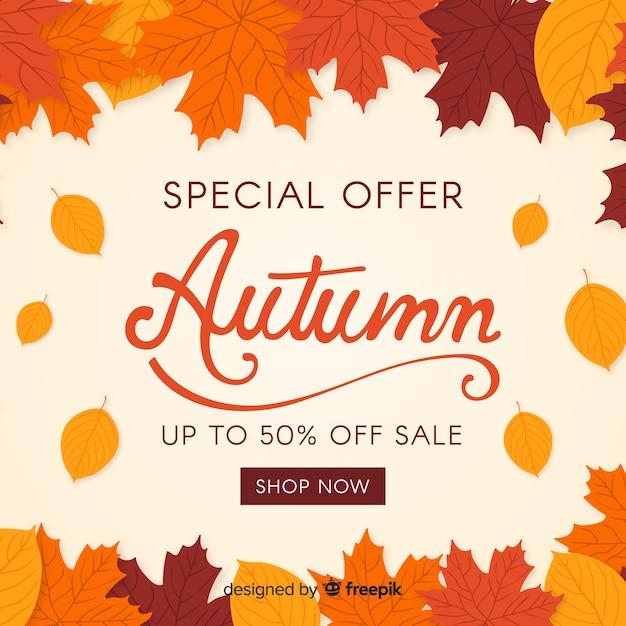 Diseño plano del fondo de la venta del otoño vector gratuito