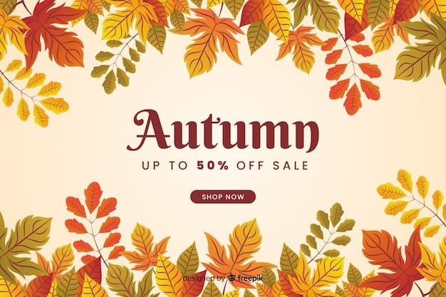 Diseño plano de fondo de venta otoño vector gratuito