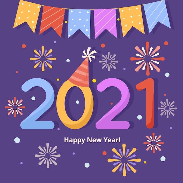 Diseño plano fuegos artificiales año nuevo 2021 vector gratuito