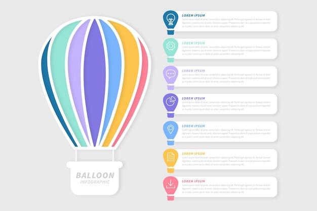 Diseño plano globo infográfico vector gratuito