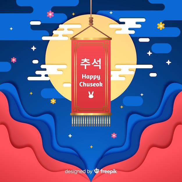 Diseño plano happy chuseok en alfombra vector gratuito