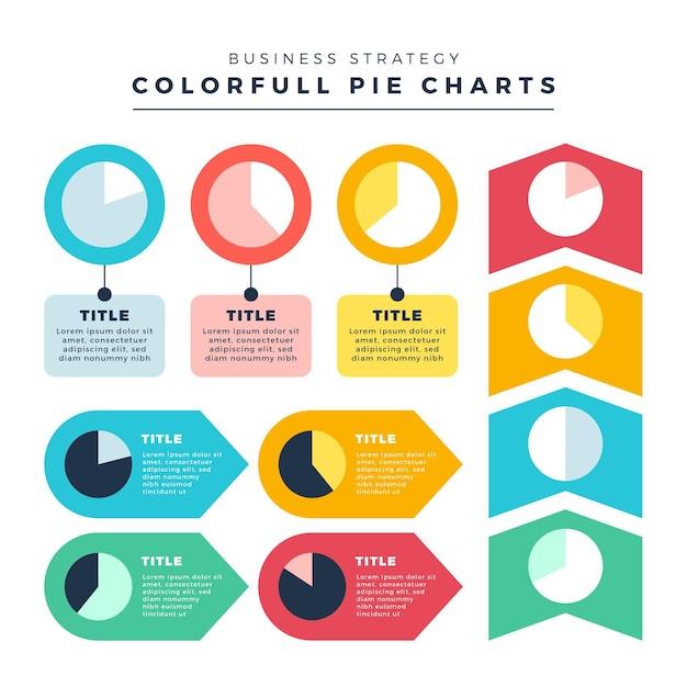 Diseño plano harvey ball diagramas infografía Vector Premium