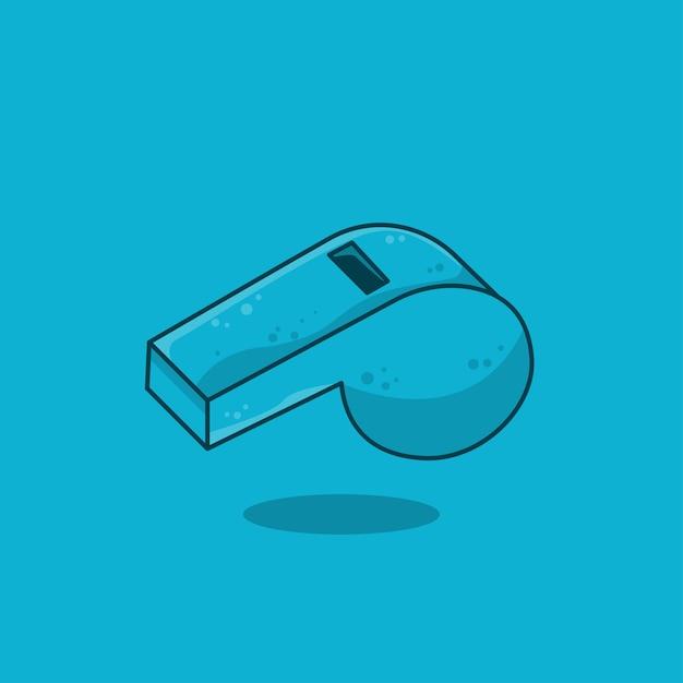 Diseño plano del icono del silbido deportivo azul, ilustración vectorial Vector Premium