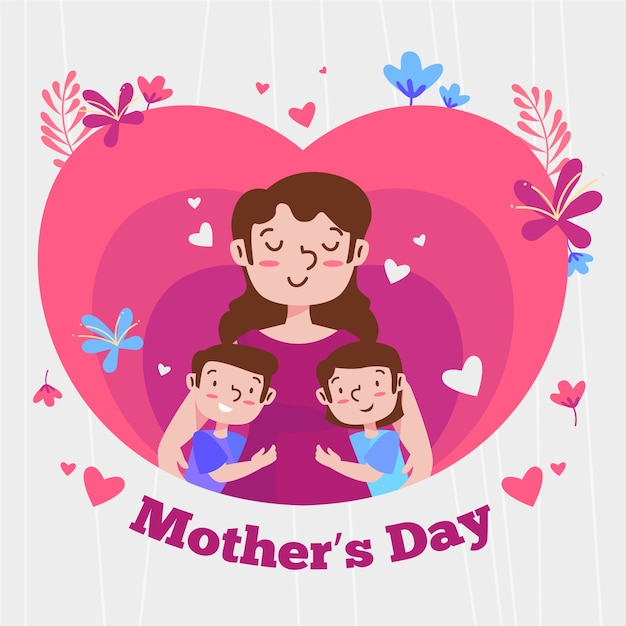 Diseño plano ilustración del día de la madre vector gratuito