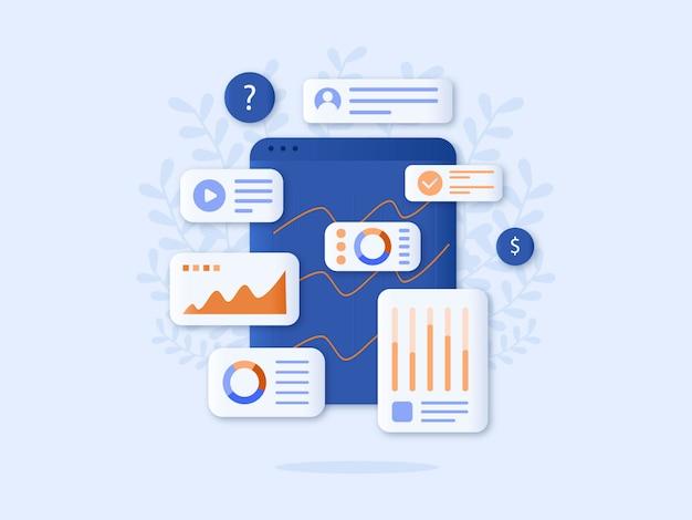 Diseño plano de ilustración de vector de análisis de datos Vector Premium