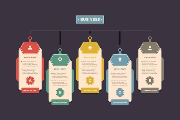 Diseño plano infografía con colores retro. vector gratuito