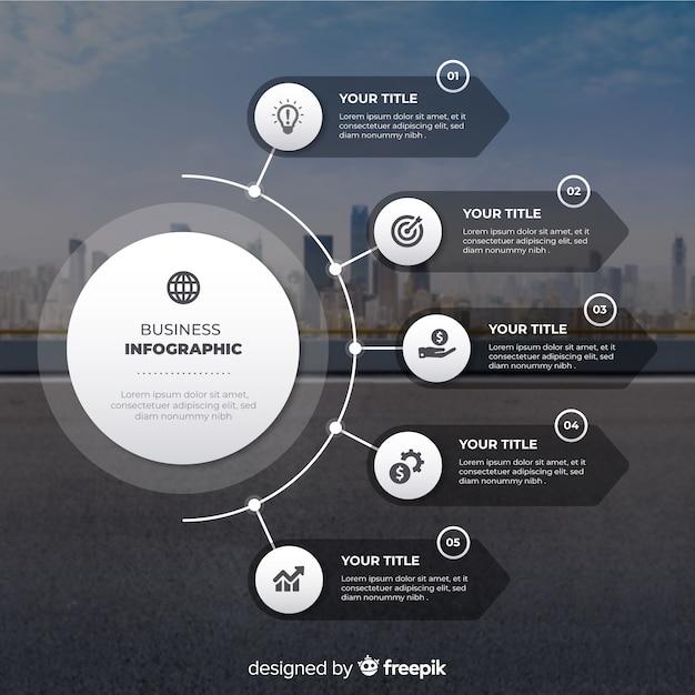 Diseño plano de infografía empresarial con foto vector gratuito