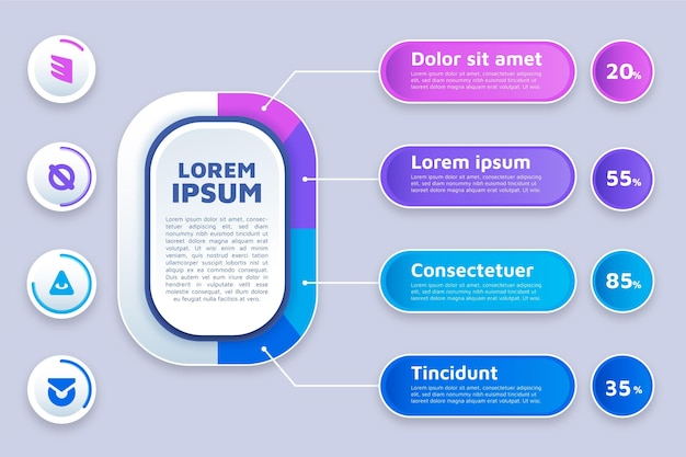Diseño plano de infografías de marketing. vector gratuito