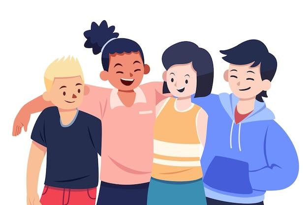 Diseño plano juventud día gente abrazando vector gratuito