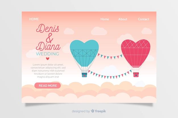 Diseño plano landing page boda vector gratuito