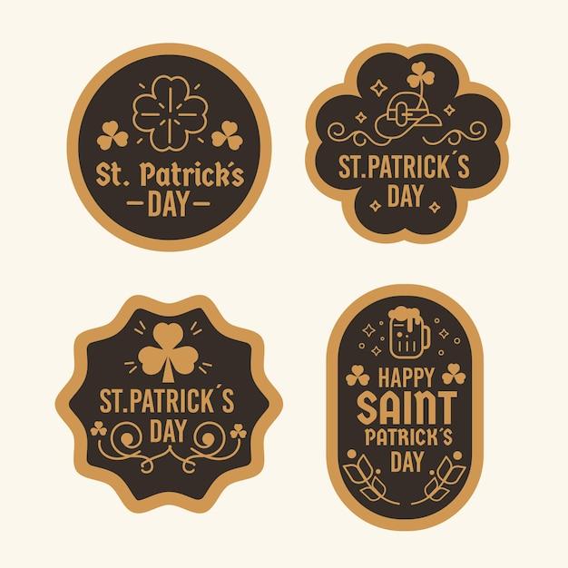 Diseño plano marrón y negro lucky st. insignias del día de patrick vector gratuito