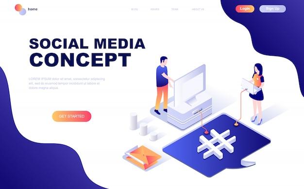 Diseño plano moderno concepto isométrico de redes sociales. Vector Premium