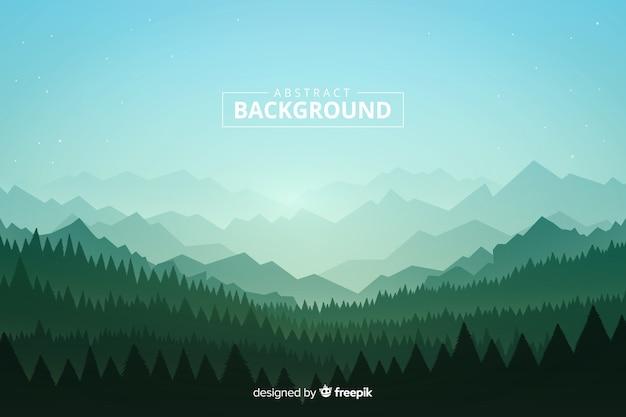 Diseño plano montañas con árboles y cielo estrellado vector gratuito