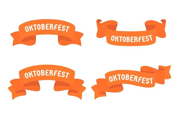 Diseño plano oktoberfest festival de la cerveza cintas rojas vector gratuito